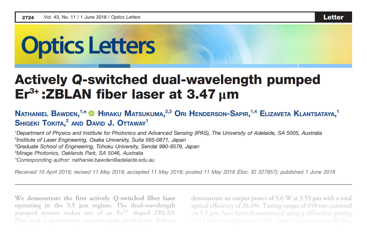 Actively Q-switched dual-wavelength pumped Er3+ :ZBLAN fiber laser at 3.47 µm