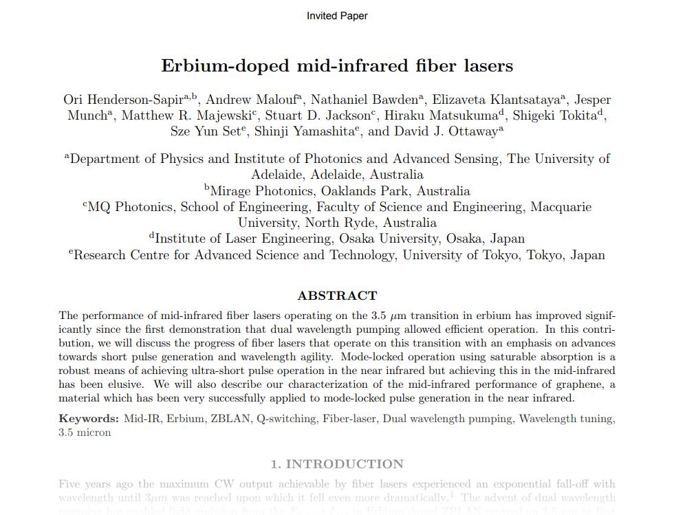 Erbium-doped mid-infrared fiber lasers